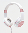 Gabba Goods Sleek Sounds auriculares con cable en blanco y oro rosa