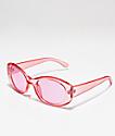 Gafas de sol redondas en rosa transparente