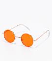 Gafas de sol redondeas en oro rosa y naranja