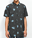 Globe Kana Black Palm Printed Short Sleeve Button Up Shirt