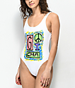 Gotcha Peace Out White One Piece Swimsuit