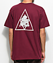 HUF Ambush Triple Triangle camiseta en color borgoño