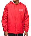 HUF Arch Block Red Hooded Coaches Jacket