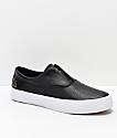HUF Dylan Slip-On Black & White Leather Skate Shoes