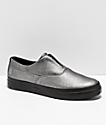 HUF Dylan Slip-On Metallic Silver & Black Leather Skate Shoes