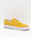 HUF Dylan Slip-On zapatos de skate en blanco y amarillo