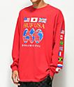 HUF Global Domination camiseta roja de manga larga