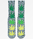 HUF Melange Plantlife Grey & Green Crew Socks