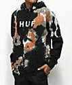 HUF OG Logo sudadera con capucha negra con efecto tie dye