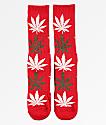 HUF Plantlife Glowflake Red Crew Socks