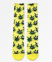 HUF Plantlife Green Buddies 2 Yellow Crew Socks