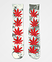 HUF Plantlife Grey & Red Tie Dye Crew Socks
