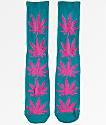 HUF Plantlife Teal & Magenta Crew Socks