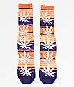 HUF Plantlife calcetines en azul iris y naranja de rayas