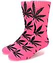 HUF Plantlife calcetines en rosa neon