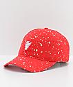 HUF Splattered Bleach Red Strapback Hat