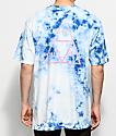 HUF Triple Triangle camiseta azul con efecto tie dye