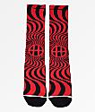 HUF x Spitfire Swirl calcetines negros y rojos