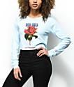 Halsey Rose Light Blue Long Sleeve Crop T-Shirt