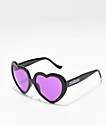 Happy Hour Heart Ons Black & Pink Sunglasses