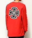 Independent Bar Cross camiseta roja de manga larga