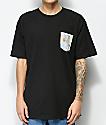 JSLV Palma Pakalolo camiseta negra con bolsillo