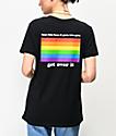 JV By Jac Vanek Get Over It Rainbow Black T-Shirt