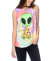 JV By Jac Vanek Pizza Nerd Alien camiseta con sisas recortadas teñido anudado