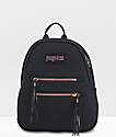 JanSport Half Pint 2 Black & Rose Gold Mini Backpack