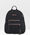 JanSport Half Pint 2 mochila negra y oro rosa