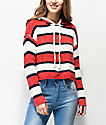 Jolt Colorblock White, Red & Blue Hooded Sweater