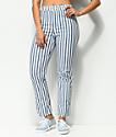 Jolt Jilden Blue & White Stripe Crop Pants