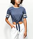 Jolt Karlie camiseta anudada azul y gris