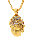 King Ice Mini Buddha Head Gold Necklace
