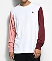 LRG South Paw White, Mauve & Burgundy Long Sleeve T-Shirt
