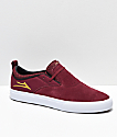 Lakai Riley Hawk II Burgundy & White Skate Shoes