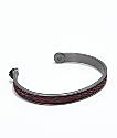 Lokai Gunmetal Burgundy Braided Cuff Bracelet