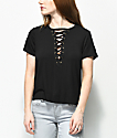 Love, Fire Freddie Deep Lace Up Black Top
