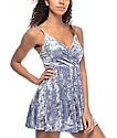 Love, Fire Ice Blue Crushed Velvet Wrap Dress