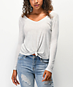 Love, Fire Keely Ribbed Knot Front Grey Long Sleeve Top
