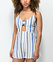 Lunachix Bella Blue & White Stripe Romper