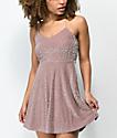 Lunachix Cami Floral Mauve Burnout Velvet Dress
