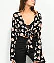 Lunachix Carlie Floral Tie Front Long Sleeve Top