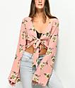 Lunachix Carlie Tie Front Floral Long Sleeve Top