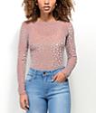Lunachix Floral Velvet & Mesh Mauve Long Sleeve Top