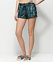 Lunachix Green Crushed Velvet Shorts