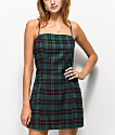 Lunachix Green Plaid Mini Dress
