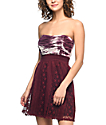 Lunachix Kendra Burgundy Tie Dye Strapless Dress