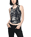 Lunachix Lara Black Tie Dye Lace Up Tank Top