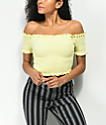 Lunachix Lizzie Off The Shoulder Yellow Smocked Crop Top